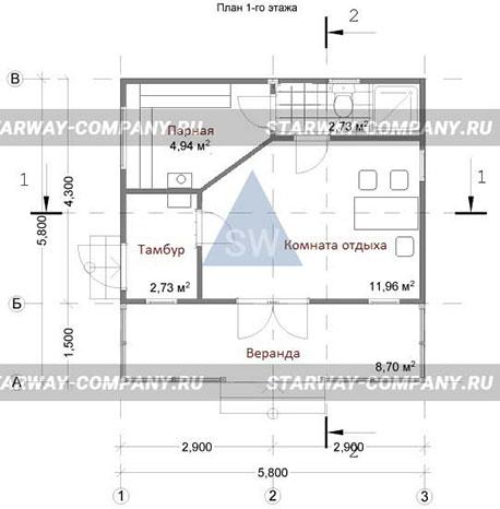 проект бани Орион планировка